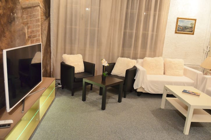 lounge, spacious living room with chairs, coaches and big fullHD TV