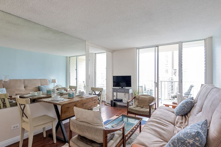 Oceanview Waikiki Condo Free Prkg 3 blks to beach - Honolulu - Wohnung