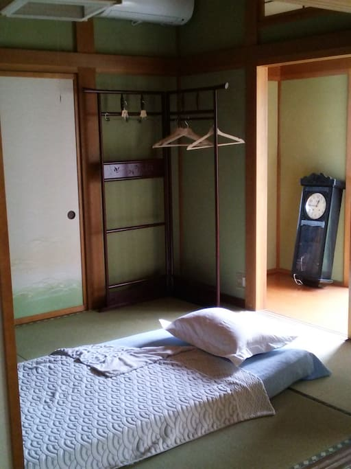 Japanese style bedding on tatami-floor. It is much cozier than you would expect.