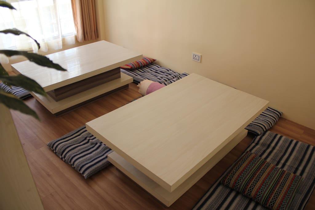 Each room is en-suite (hot water) & lounge space.