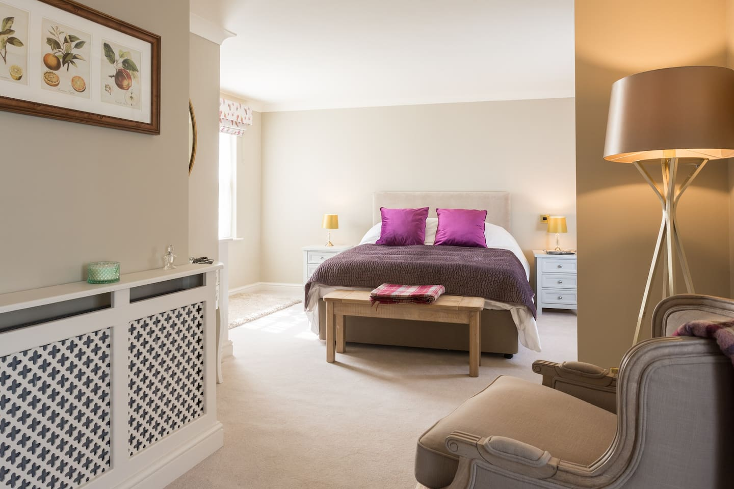 Large bedroom and dressing area includes luxury King-size bed with Hypnos mattress and quality bed linens, dressing table and wardrobe.