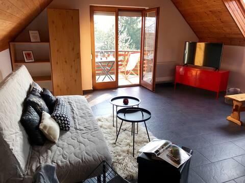Modern black & red apartment Vonyarc, lake Balaton