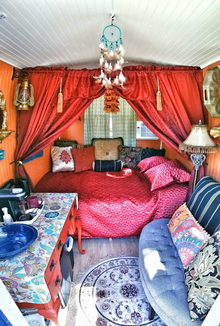 The Gypsy Sunrise, Gypsy Wagon Tiny House Glamping