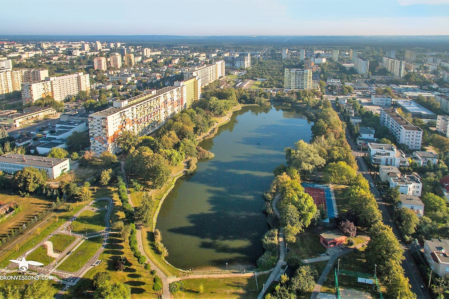 Beautiful and quite area with lots of space for peaceful walks or jogging around the lake. This apartment is located in the 4 story building to your right.