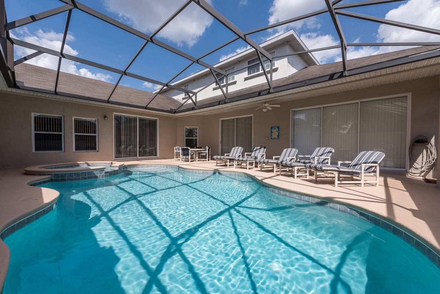 large sunny pool deck - very private