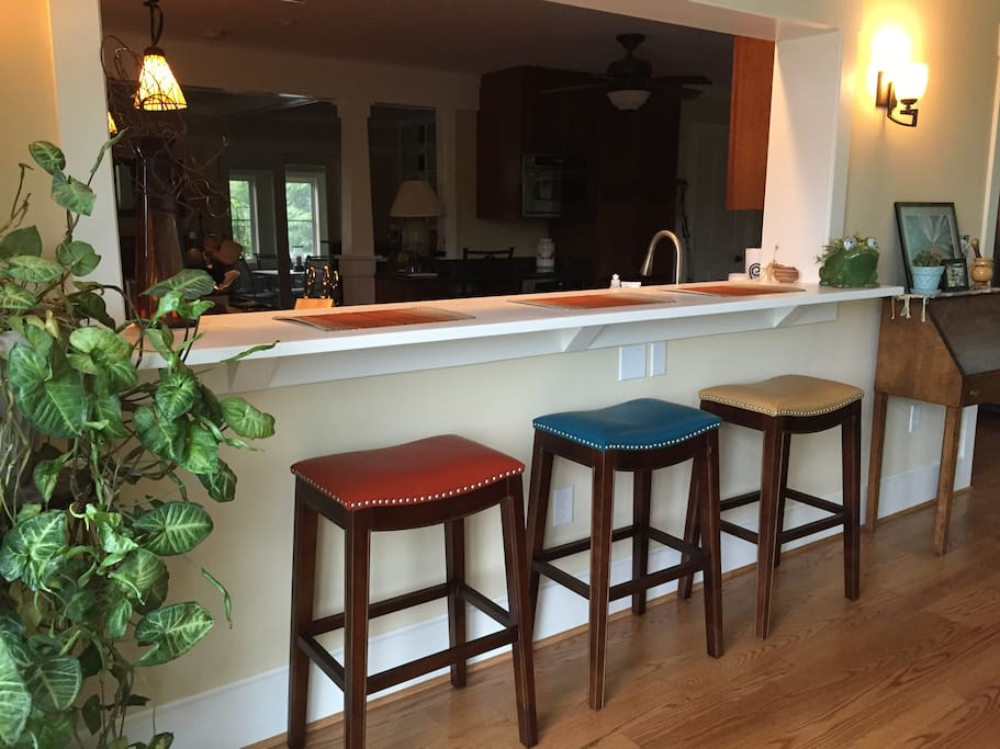 One of two counters surrounding kitchen
