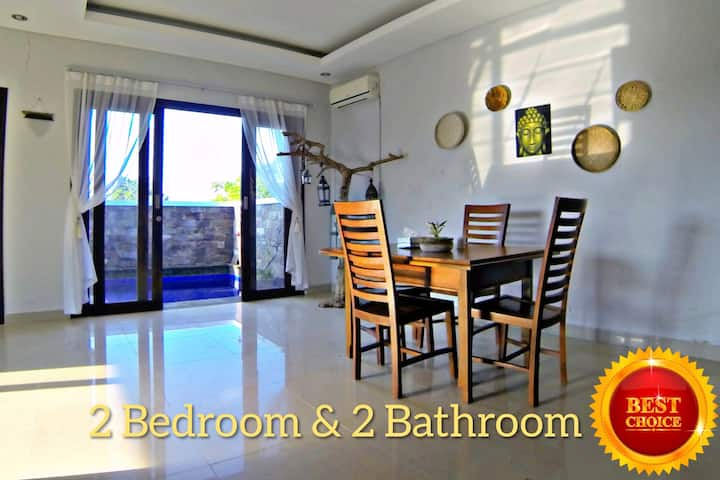 2BR House 15 minutes walk to a calm beach