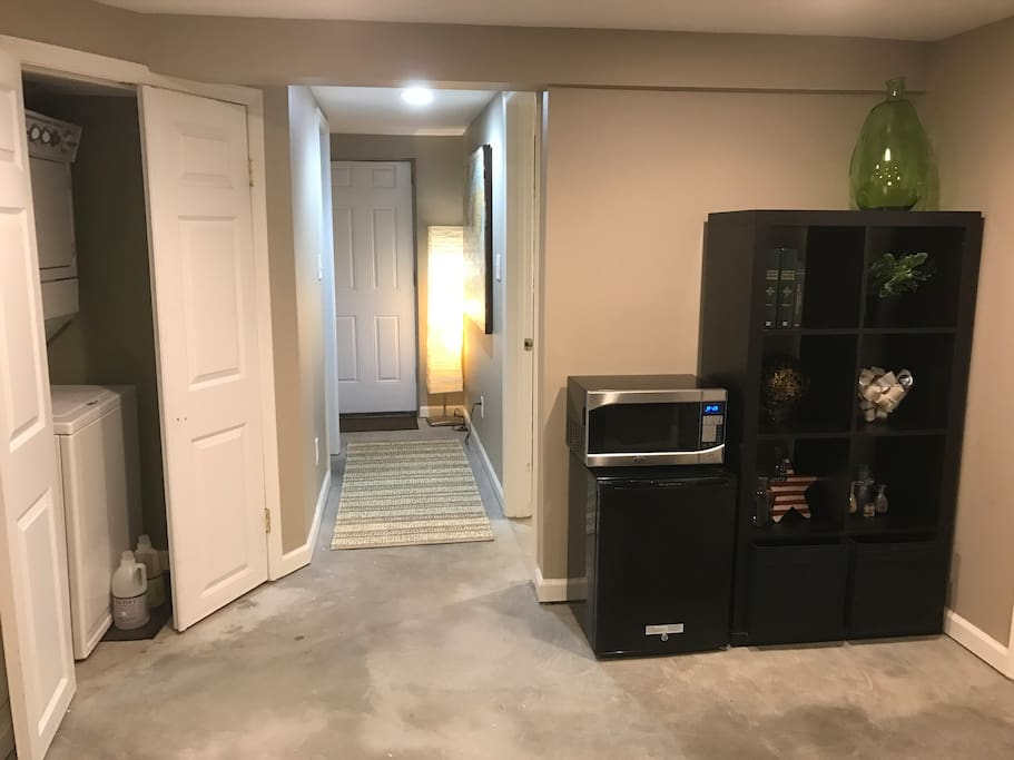 A washer and dry is available for use. There is also a microwave and a mini refrigerator.