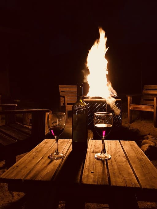Hang out around a wood burning fire and enjoy the occasional meteor shower, have a glass of wine, or roast some S'mores! (Firewood NOT provided. Use caution at all times with any open flames.)