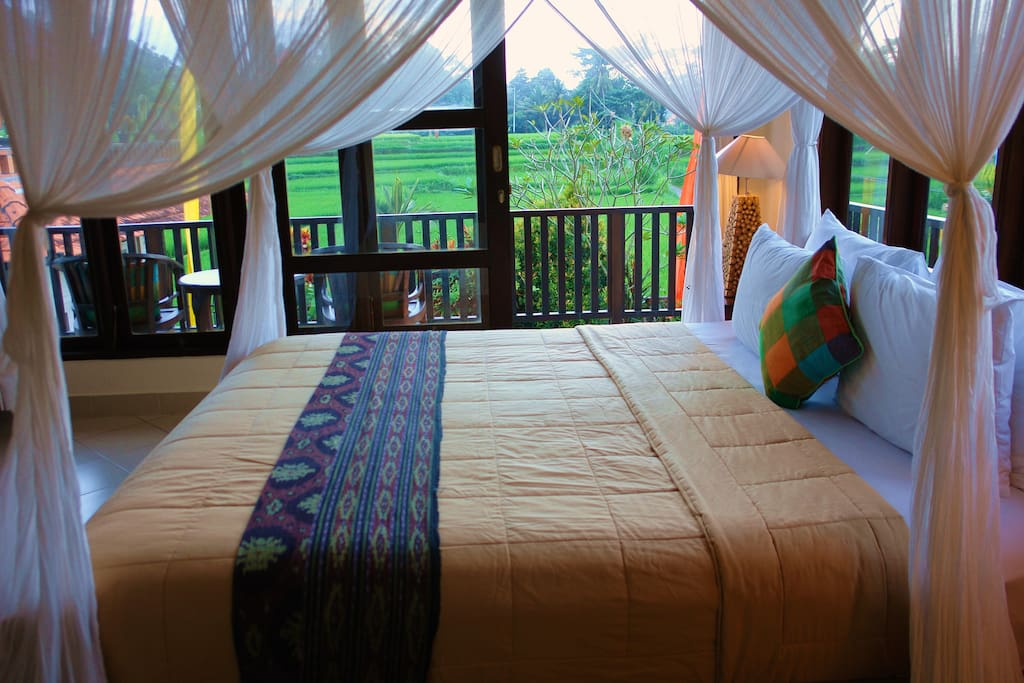 Bedroom with rice paddies view