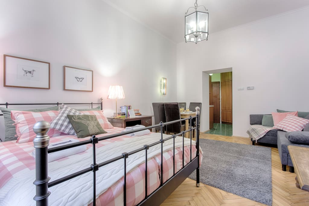 Spacious bedroom with comfy double bed and pull out sofa