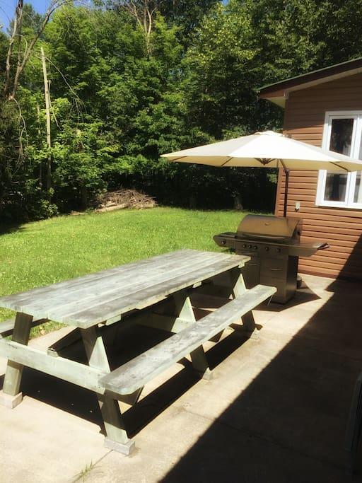 BBQ area in backyard