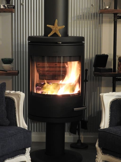 Morso fireplace in living area for cooler days and nights