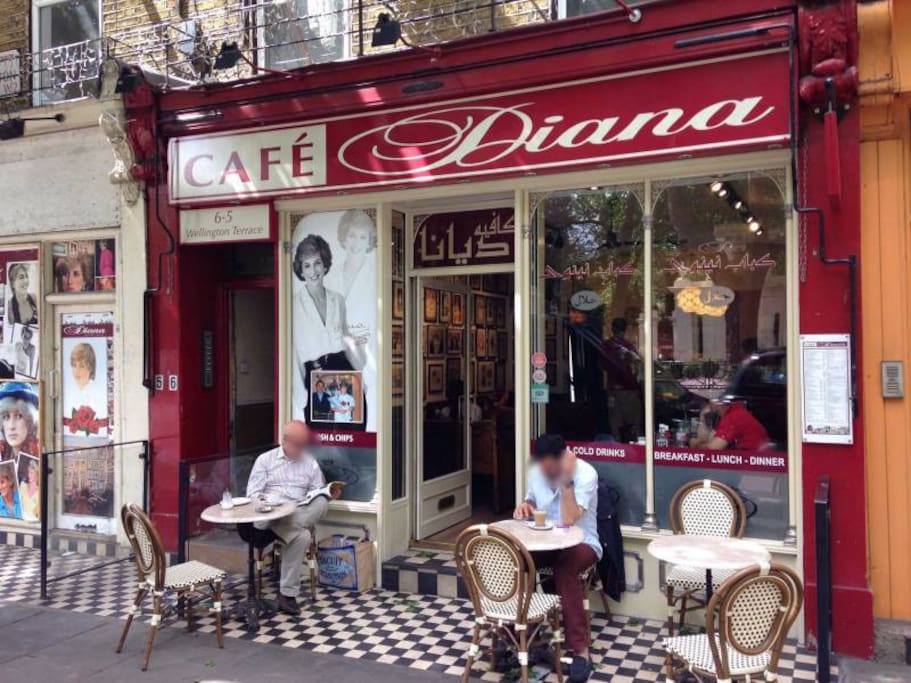Princess Diana's Café, is just on the corner of the flat
