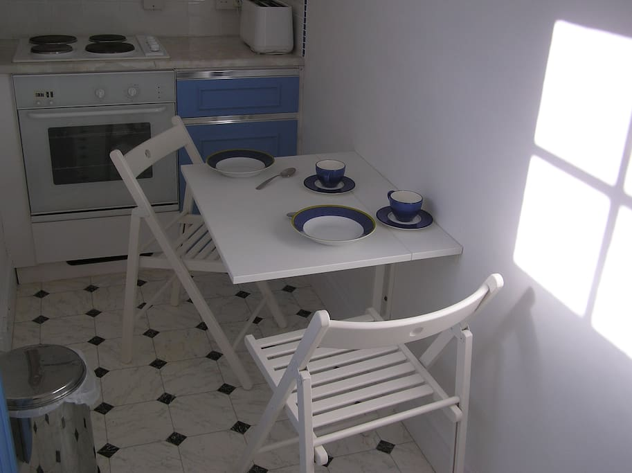 Kitchen fold down table. Tea for two