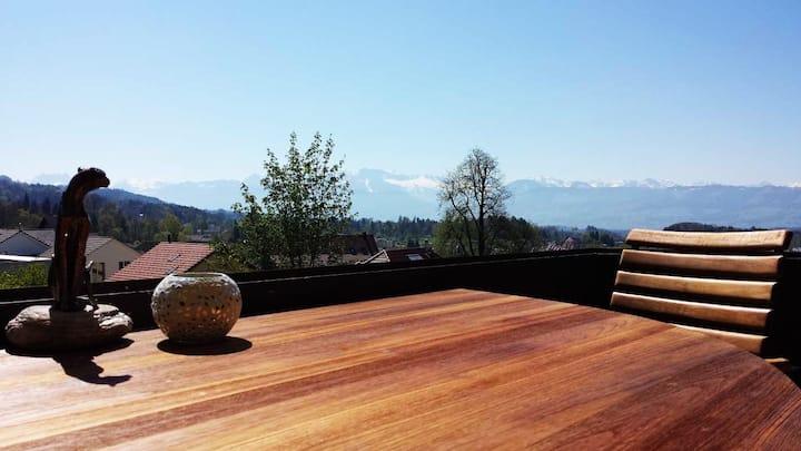 Alpenblick im Zürcher-Oberland 92m2  und Pool