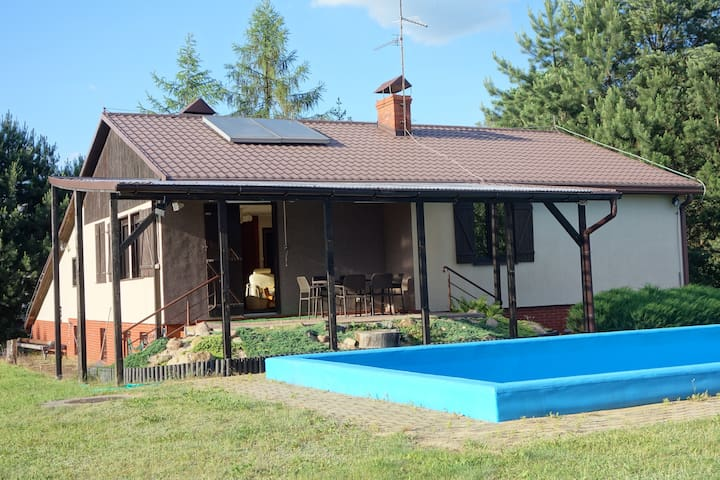 House with the swimming pool in a small village