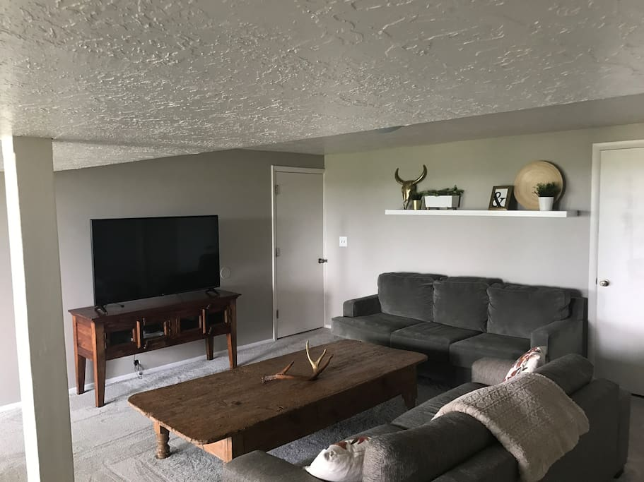 "Living room with plenty of natural light.  55"" smart TV with fast wifi. Netflix and Amazon Prime included!"