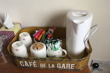 Tea and coffee making facilities in your room- we have every kind of tea available in the house!