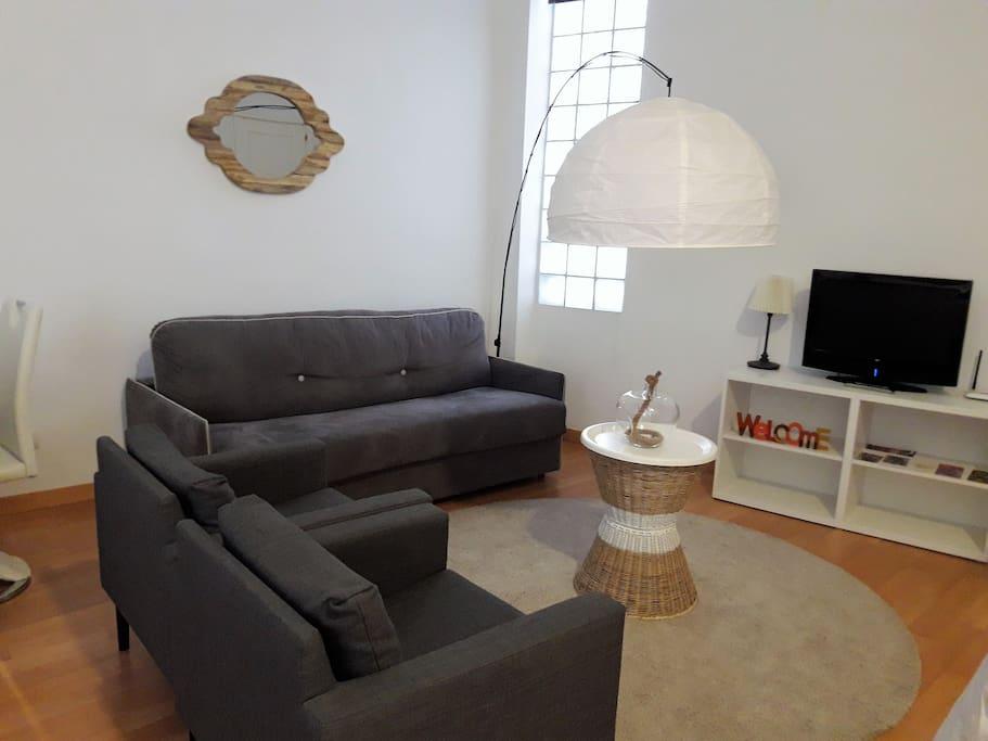 Gran salón con sofá cama doble , wifi, aire frío/calor. tv