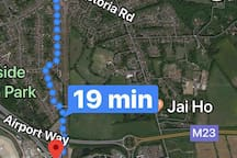 You can walk from Gatwick south terminal in 14-25 minutes