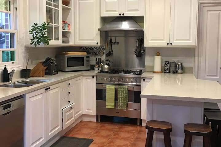 Spacious kitchen with high-end appliances