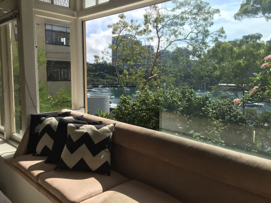 Bay window seat looking over Lavender Bay