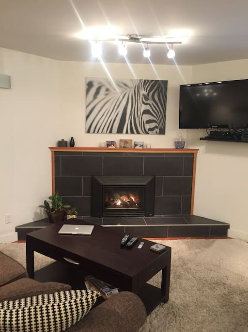 Our cozy living room includes a gas fireplace.