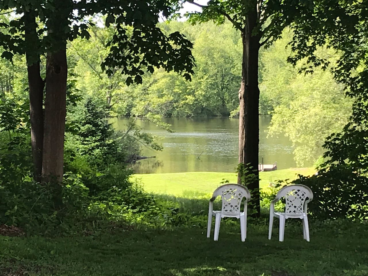 We don't have river access but the view from the backyard is lovely .