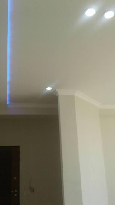 Violet LED lights across the living room