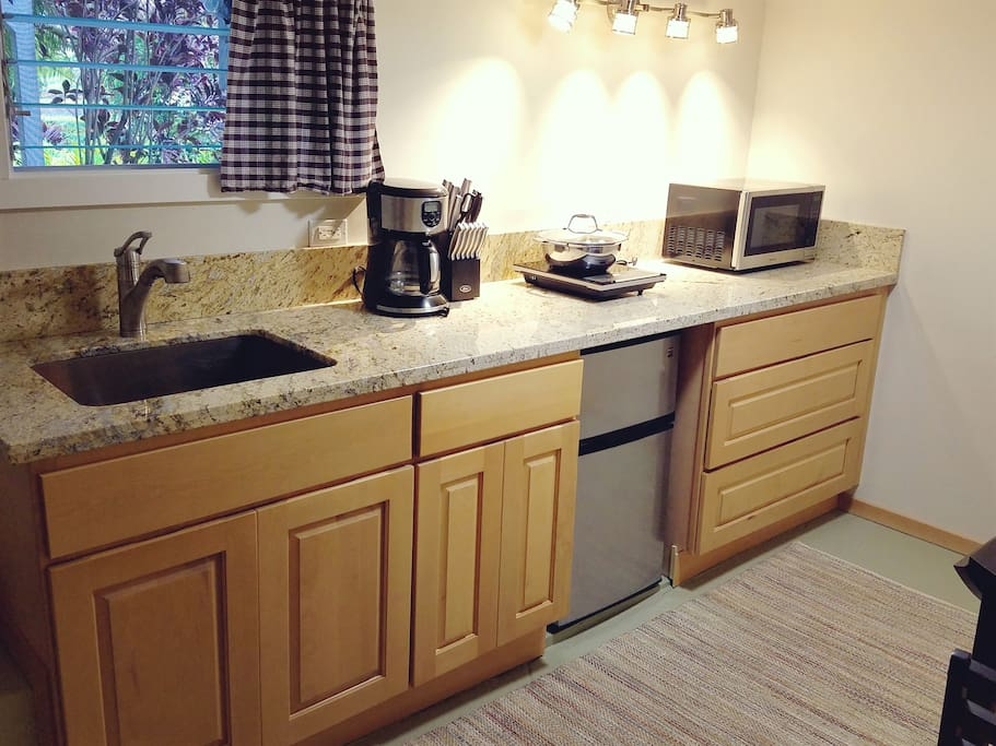 Granite counter top, stainless steel appliances, and induction hotplate.  Microwave, refrigerator, and stainless steel deep sink.