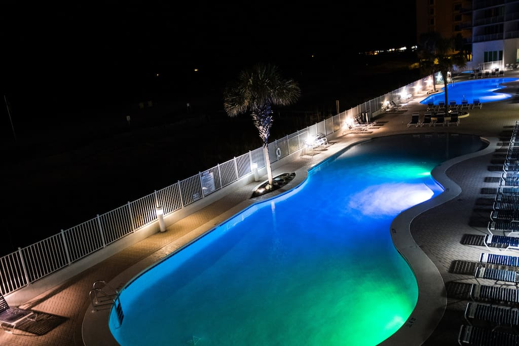 Swimming pools are Lit at night