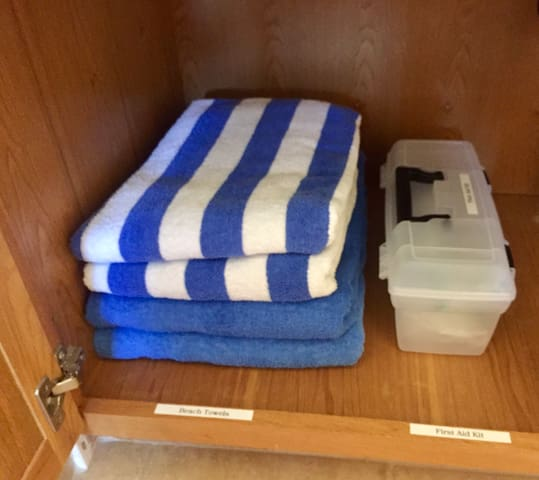 Plenty of Towels to take to the beach, First Aid Kit to include Feminine Prods., Bandaids and Alcohol