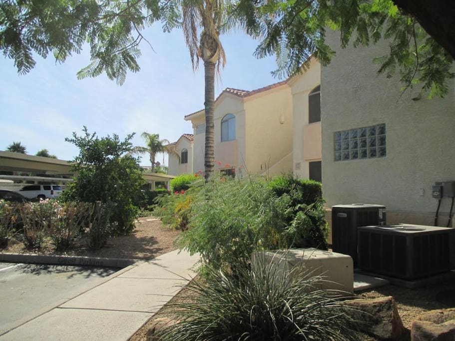 Quiet complex with heated pool and covered parking