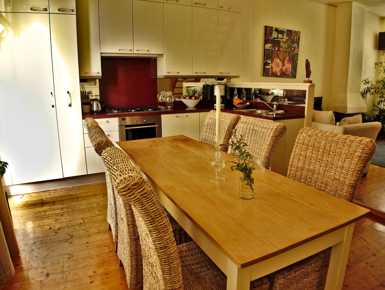the dining table as part of the open kitchen
