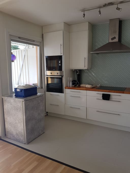Fully equipped kitchen with microwave and a fridge.