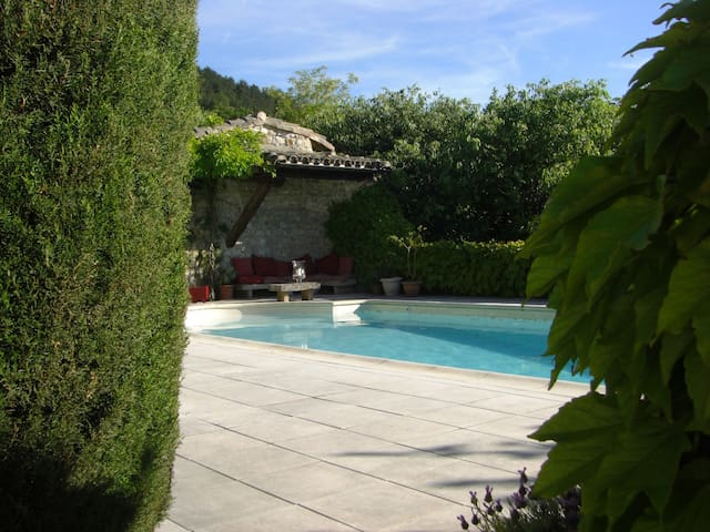 Two charming houses, views, pool, heart of village