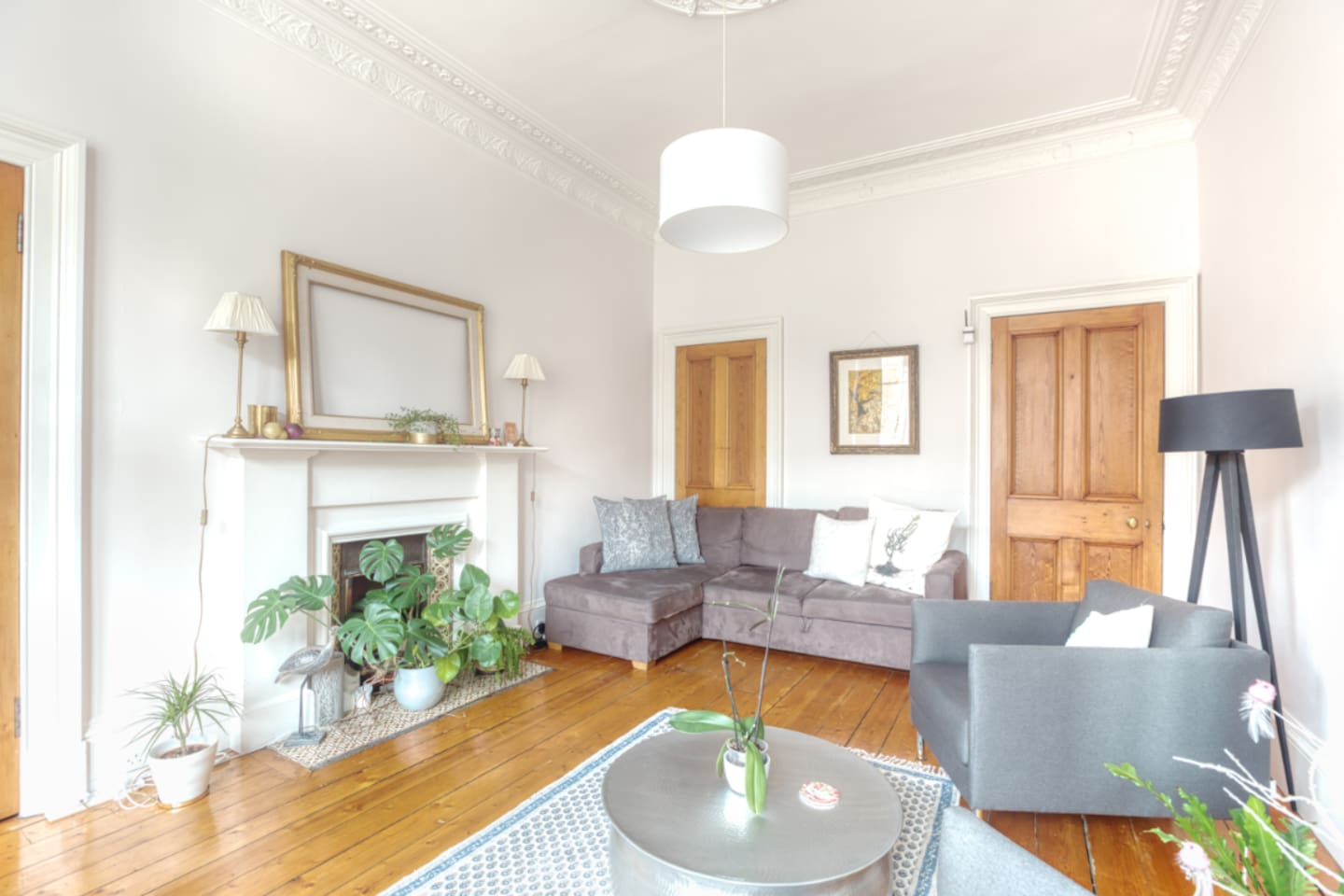 The living room is comfortable and bright and airy