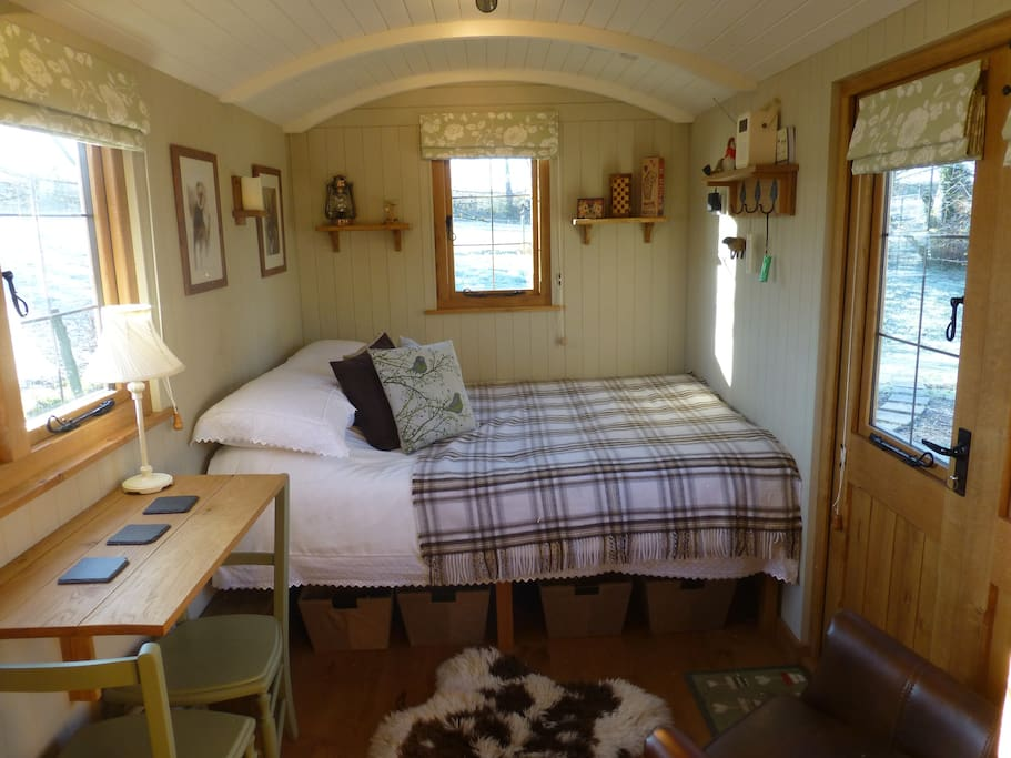 Full Double bed, with storage underneath.
