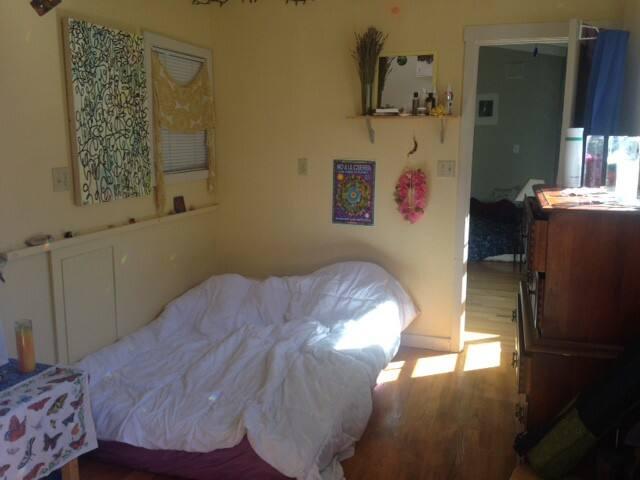 The room, hardwood floor, tons of natural light
