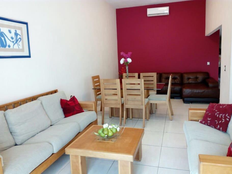 Espaciosa sala comedor más sofá para TV