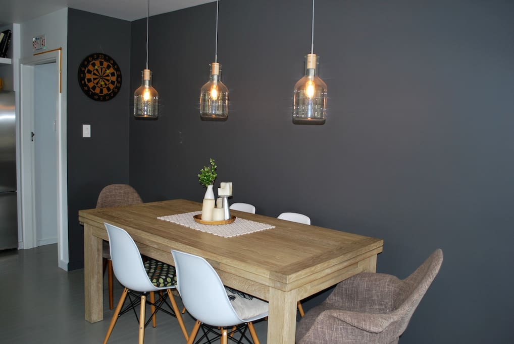 Dining room with 12-seater American Oak table