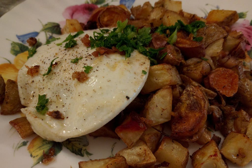 Mixed Root Vegtable Hash served with local pastured cooked-to-order egg.