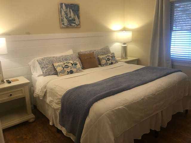 King bedroom on the main level with private full bath.