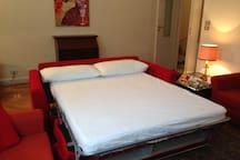 Questo e' il divano letto per due Persone nel soggiorno
