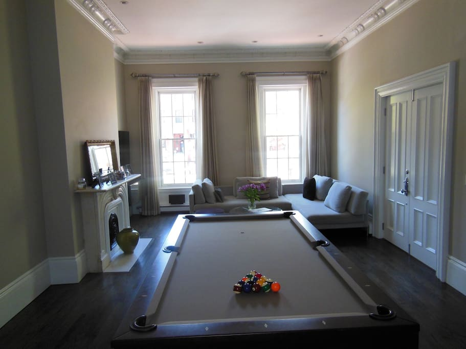 Parlor level area with pool table