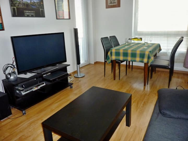 Nice flat 60m2, garage, 35 min to the centre.