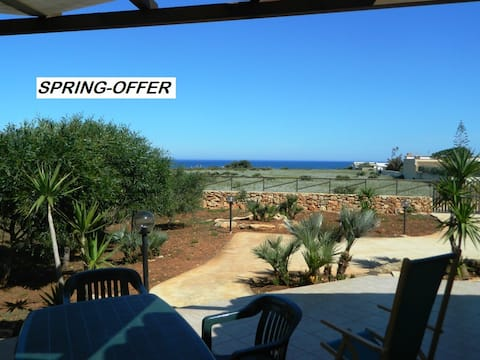 CHALET LOW COST,  with garden and  SEA VIEW!!!