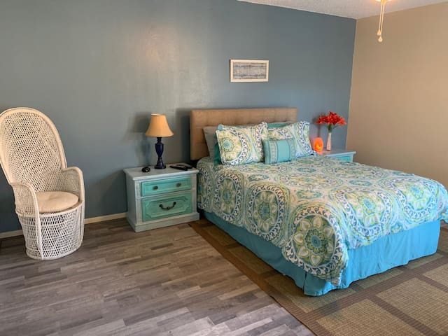Master bedroom with new flooring! No more carpet!