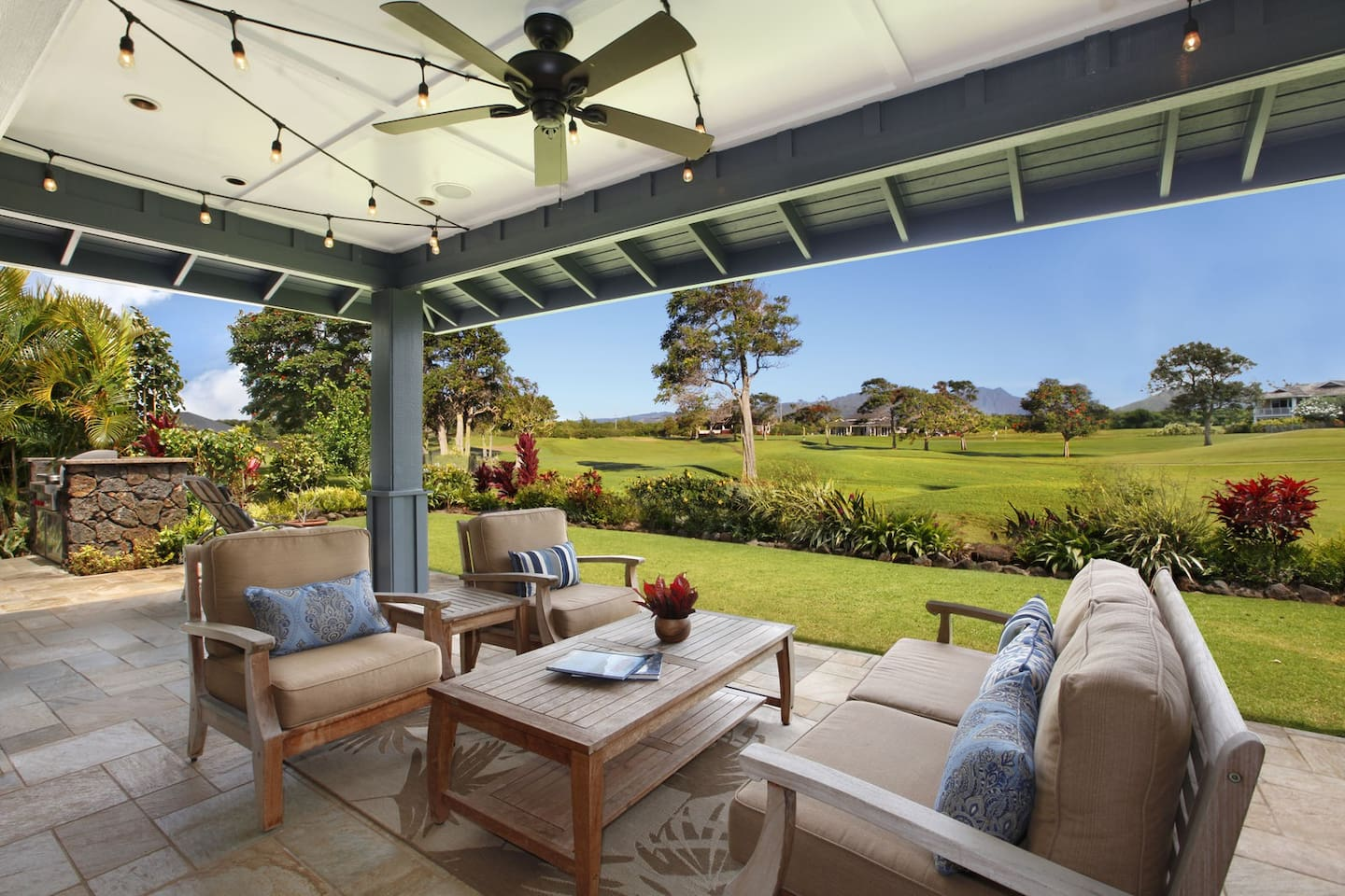 Lanai with Wolf BBQ and Golf Course/Mountain Views